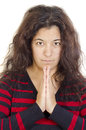 Young woman with freckles in devout prayer Royalty Free Stock Photo