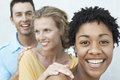 Young woman with friends having fun together closeup portrait of women Stock Photo