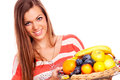 Young woman with fruit Images libres de droits