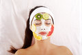 Young woman with fruit mask on a face Royalty Free Stock Photo