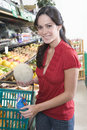 Young Woman Fruit Shopping In Supermarket