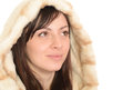 Young woman in a furry hood isolated on white background Stock Photo