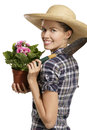 Young woman   gardener Stock Photo