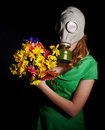 Young woman  in gas mask . Stock Images