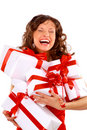 Young woman with gifts Royalty Free Stock Images