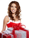 Young woman with gifts. Stock Photography