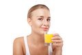 Young woman with a glass of orange juice isolated nice on white Stock Images