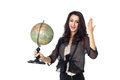 Young woman with globe on isolated background an old white Stock Photo