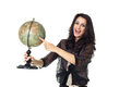 Young woman with globe on isolated background an old white Royalty Free Stock Image