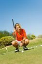 Young Woman On Golf Course Stock Image