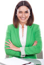 Young woman green jacket blinking an eye beautiful happy and Stock Images