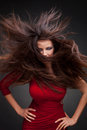 Young woman with hair flying Stock Photography