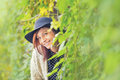 Young woman happy in colorful forest foliage. Royalty Free Stock Photo