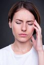 Young woman have a headache Stock Images