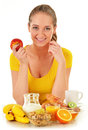 Young woman having breakfast balanced diet Stock Images