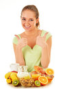 Young woman having breakfast balanced diet Royalty Free Stock Photos