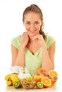 Young woman having breakfast balanced diet Royalty Free Stock Photo