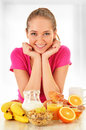Young woman having breakfast balanced diet Royalty Free Stock Images