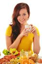 Young woman having breakfast balanced diet Stock Photos