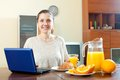 Young woman having breakfast happy ordinary using laptop during at home Royalty Free Stock Images