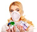 Young woman having flu takes pills isolated Stock Photography