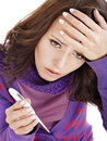 Young woman having  flue  taking thermometer. Stock Photography