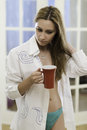 Young woman having a morning coffee Royalty Free Stock Photo