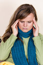 Young woman having a strong headache closeup portarit of Stock Photos
