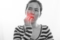 Young woman having toothache and touching mouth on isolated whi Royalty Free Stock Photo