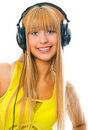 Young woman in head phones Stock Photos