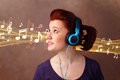 Young woman with headphones listening to music pretty notes concept Royalty Free Stock Images