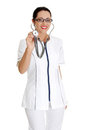 Young woman in healthcare worker uniform Stock Photo
