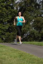 Young woman healthy outdoor exercise in sunshine Stock Photos