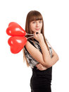 Young woman with heart shape balloons Royalty Free Stock Photo