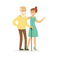 Young woman helping and supporting elderly man, healthcare assistance and accessibility colorful vector Illustration