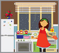Young woman in her kitchen. Royalty Free Stock Photos