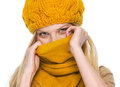 Young woman hiding in scarf isolated on white Royalty Free Stock Photos