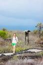 Young woman hiking at Galapagos islands Royalty Free Stock Photo