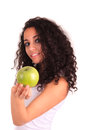 Young woman holding apple.  over white Stock Photos