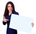 Young woman is holding blank banner isolated over white beautiful Stock Photo