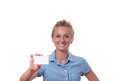 Young woman holding blank business card with copy space Royalty Free Stock Photo