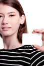 Young woman holding blank business card Royalty Free Stock Photo