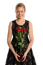 Young Woman Holding Bouquet of Roses Royalty Free Stock Image