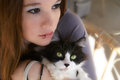 Young woman holding cat attractive her favorite pet Stock Photo