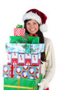 Young Woman Holding Christmas Presents Royalty Free Stock Photography