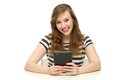 Young woman holding digital tablet Stock Image