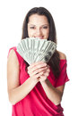Young woman holding a dollar bills portrait of pretty smiling isolated on white background Stock Photography