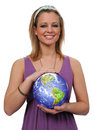 Young Woman Holding Earth Stock Images