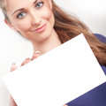 Young woman holding empty card Royalty Free Stock Photos