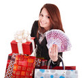 Young woman holding euro money and gift box,. Royalty Free Stock Photo